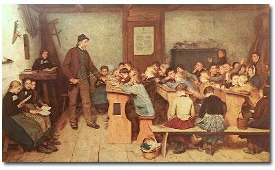 La classe d'une école de village en Suisse, en 1848 (peinture d'Albert Anker, 1896)